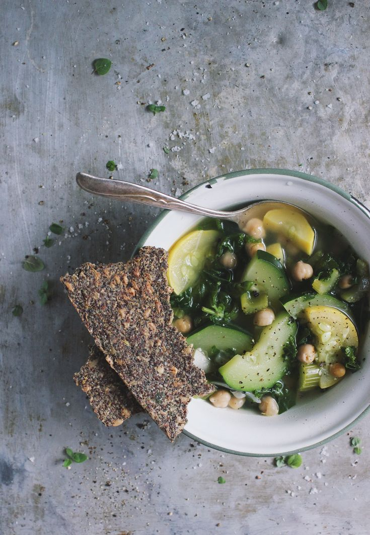 Summer Squash Soup with Herb Seeded Crispbread - With Food + LoveHealthy Soup, Seeds Crisps, Herbs Seeds, Seeds Crackers, Summer Squashes Soup, Seeds Crispbread, Courgette Soup, Seeds Breads, Crisps Breads