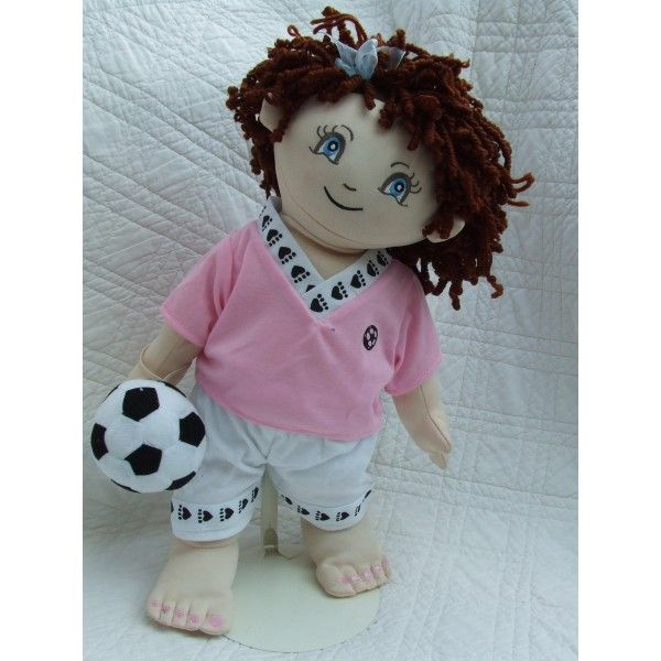 "Cuddly 18"" Rag Doll In Pink & White Football Kit"