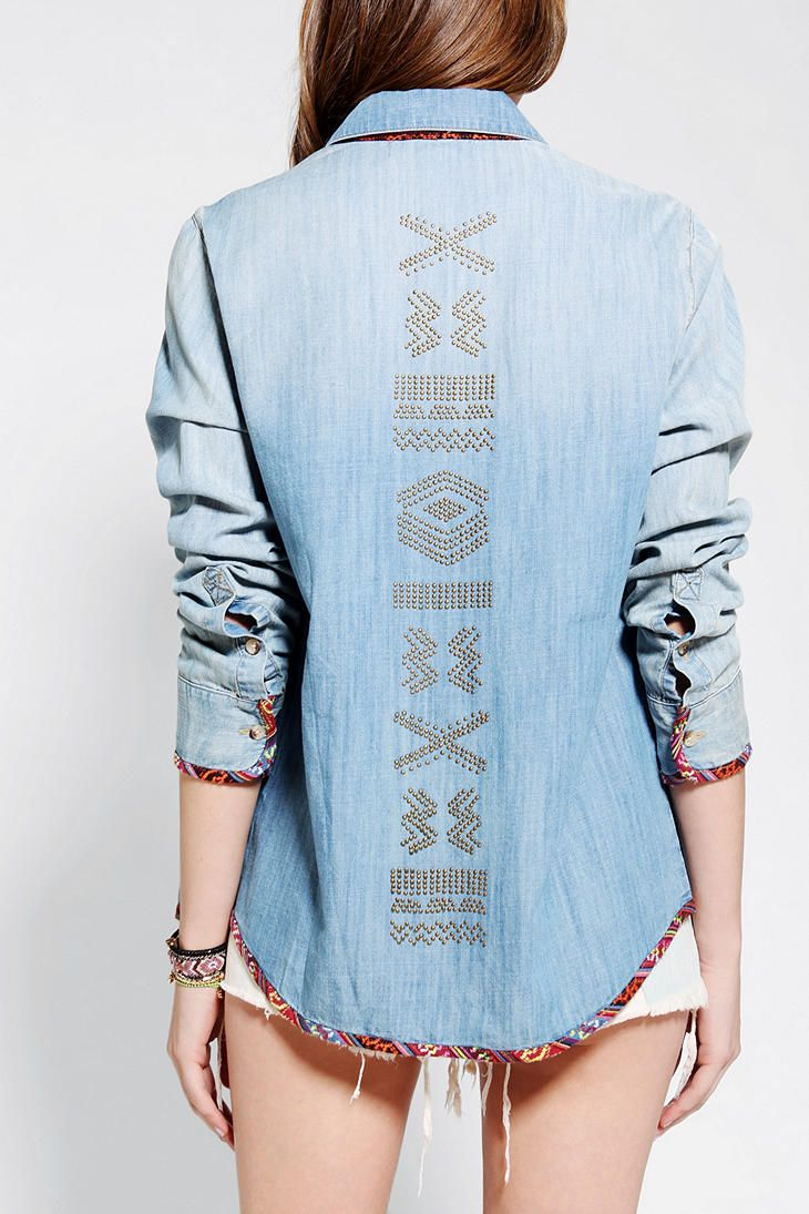 Staring At Stars Blanket-Trim Chambray Shirt #urbanoutfitters