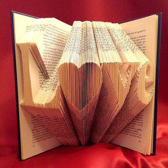 LOVE with a heart - Smaller font - Folded Book Art - Handcrafted - Hardcover book - 4 letters - Word - Original gift - Mother gift