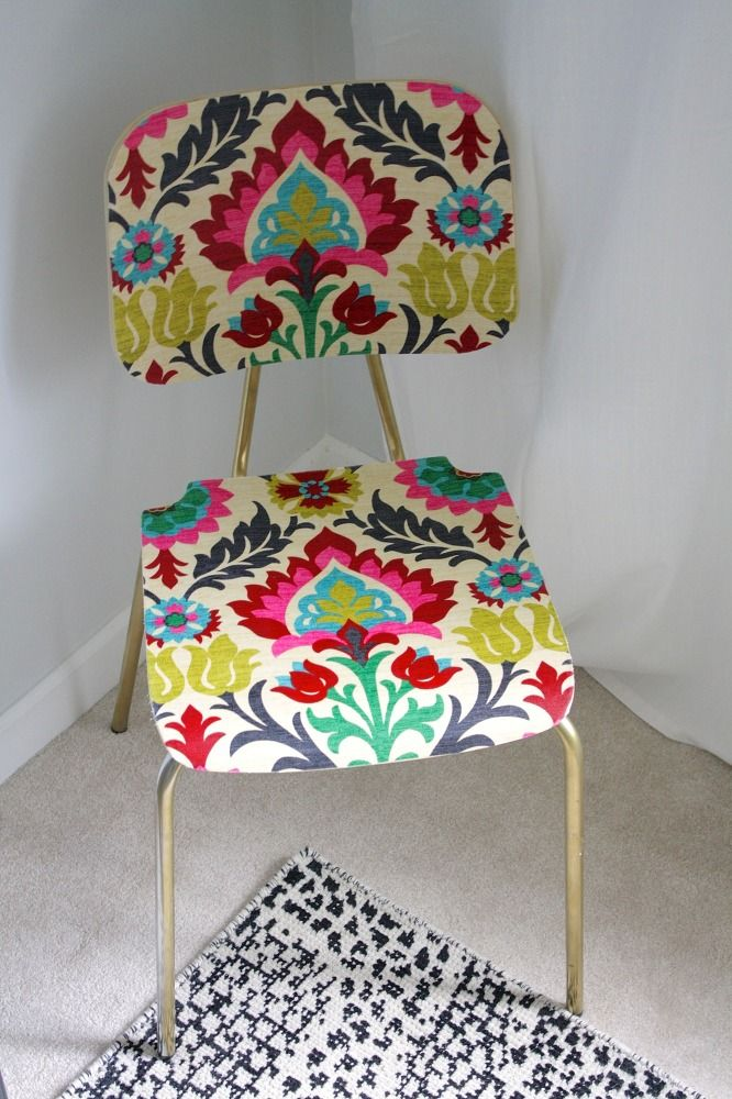 """""""Upholster"""" a Wood Chair With Fabric and Mod Podge 