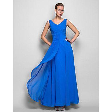 bainha / coluna v-pescoço naturais georgette do assoalho-comprimento vestido de noite (759.999) – BRL R$ 214,33