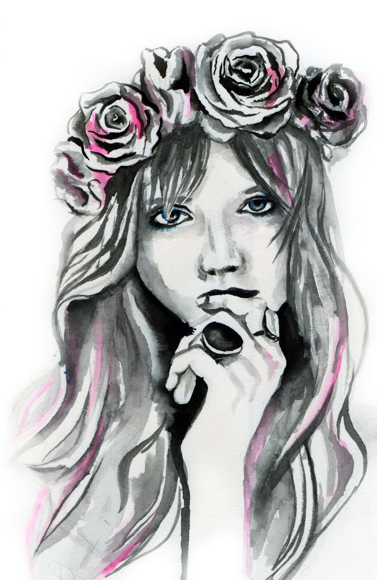 Abbey Lee Kershaw Fashion illustration by Elise Reid - Watercolour, photography and acrylic