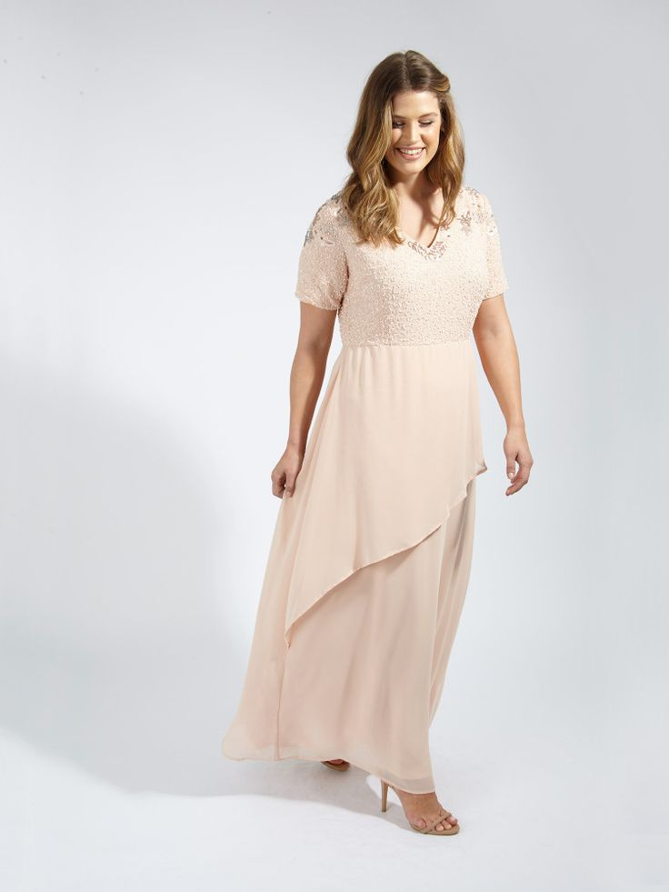 Lovedrobe Luxe Floral Sequin Detail Double Layer Pink Nude Maxi Dress