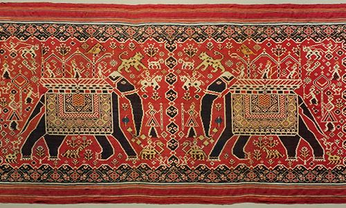 Patan patola with traditional patterns