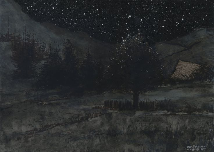 Night in the Beskids. Ink, watercolor. Author: Witold Kubicha