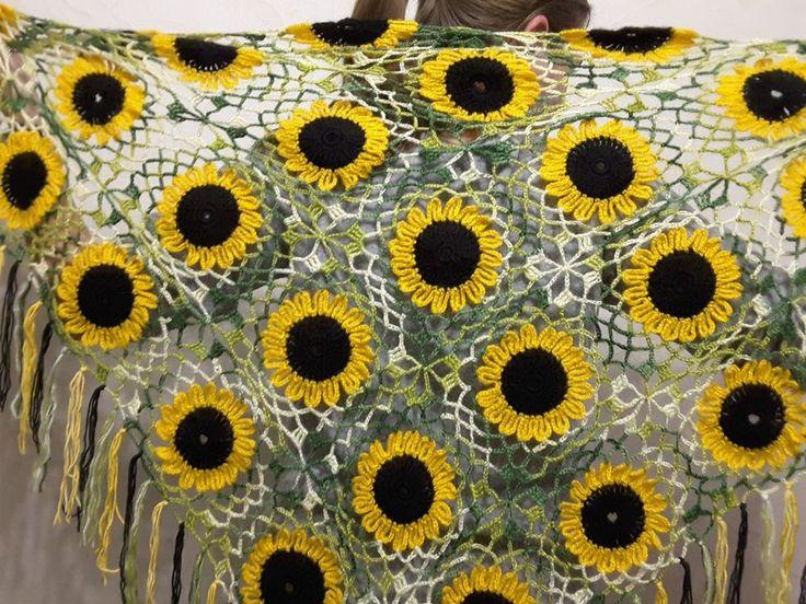 New unique sunflower crochet handmade mohair angora shawl sweater wrap scarf #Handmade #ShawlWrap