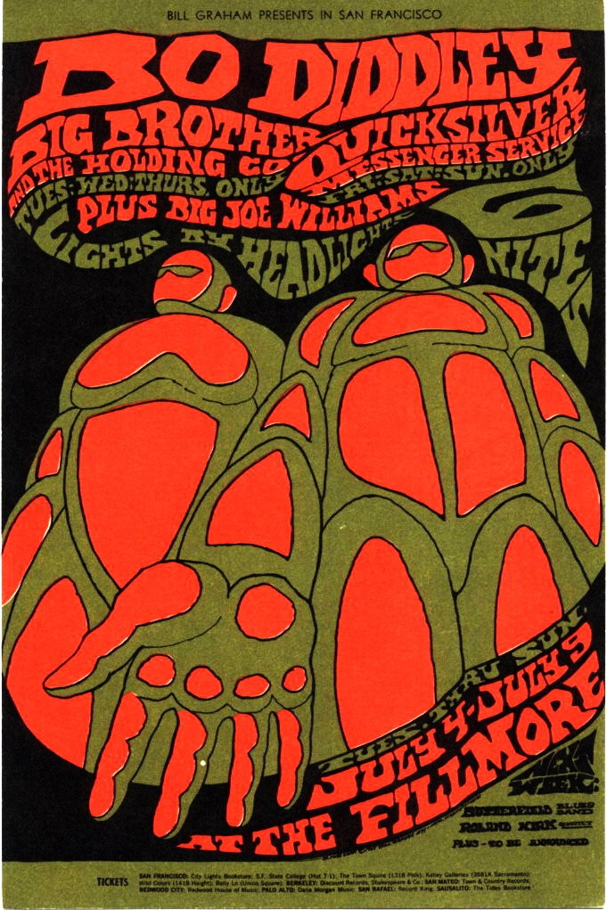 Bill Graham Presents in San Francisco    Bo Diddley    Big Brother and the Holding Co. / Quicksilver Messenger Service / Big Joe Williams    July 4-9, 1967 @ Fillmore Auditorium - San Francisco    B. MacLean © 1967 Bill Graham