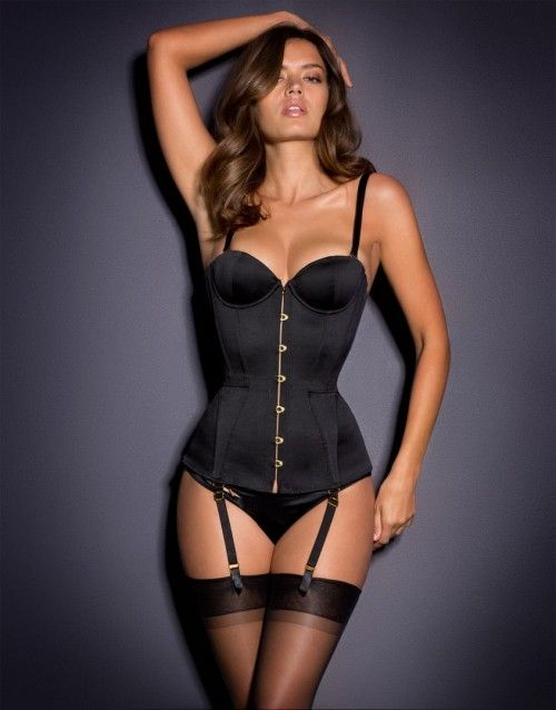Agent Provocateur: Mercy Corset Satin Black. Black sexy corset. See more sexy corsets >>> http://justbestylish.com/9-sexy-corsets-you-should-buy/