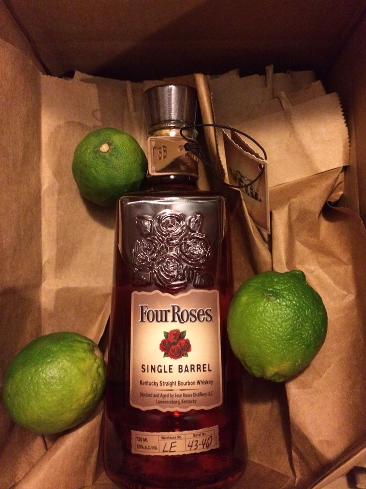 4th year anniversary present for him. Flowers - four roses bourbon. Fruit - limes for drinking.