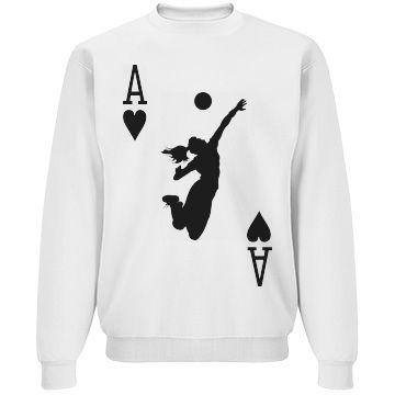 Volleyball Ace of Courts Unisex Basic JERZEES NuBlend Crewneck Sweatshirt