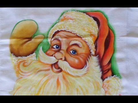 Como Pintar Papai Noel no Tecido - YouTube