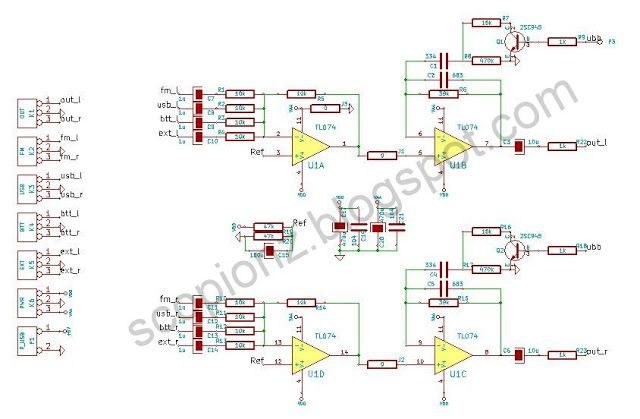Stereo Bass Booster TL074 Schematic Bass Booster is an audio devicecircuit is an active circuit and used TL074, which include separate four op-amps.
