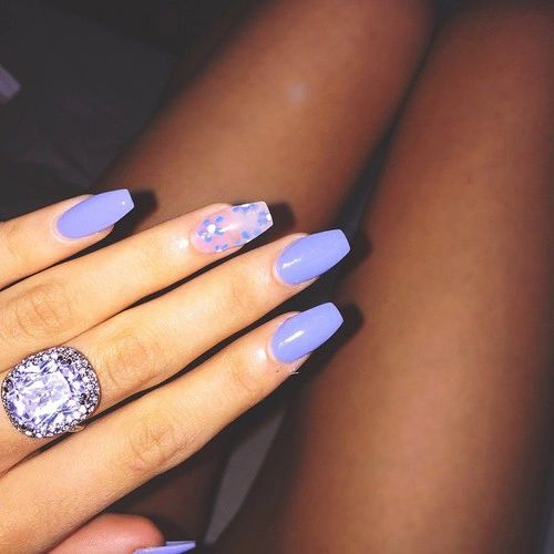 Light purple gel acrylic nails with sparkling accent nail