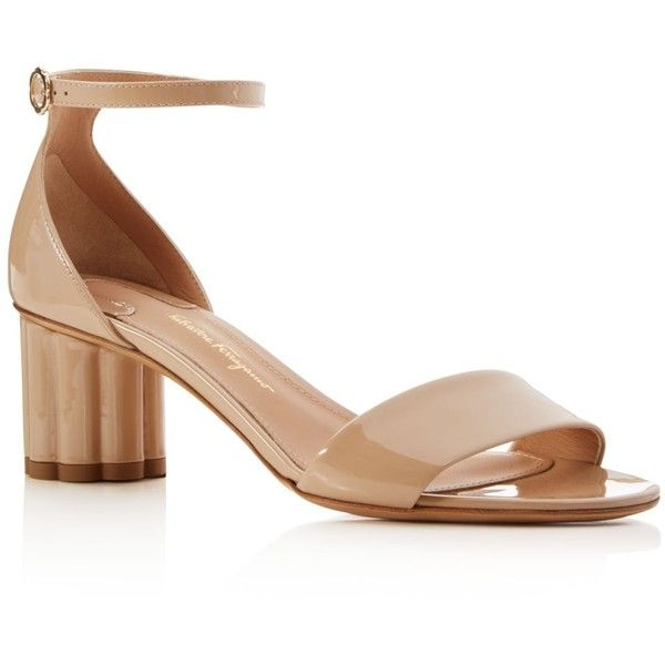 Salvatore Ferragamo Women's Patent Leather Mid Heel Sandals ($615) ❤ liked on Polyvore featuring shoes, sandals, almond, patent shoes, patent leather sandals, salvatore ferragamo sandals, patent leather shoes and salvatore ferragamo