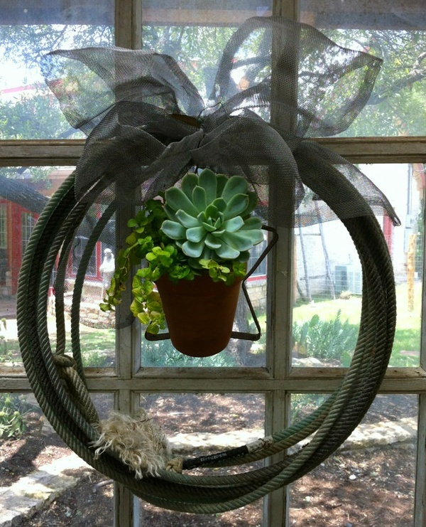 Team roping rope door wreath  Succulents