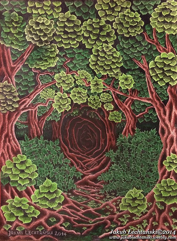 "Rysunek ""Las"" 2014. Dark, green leaves, thick forest, trees..."