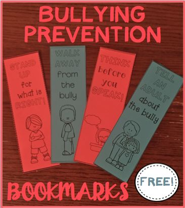 Free Bullying Prevention Bookmarks! Just in time for ...