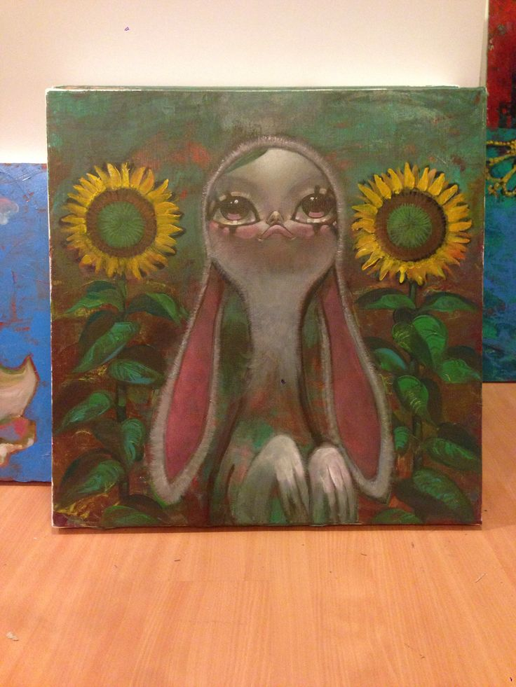 Rabbit and sunflower