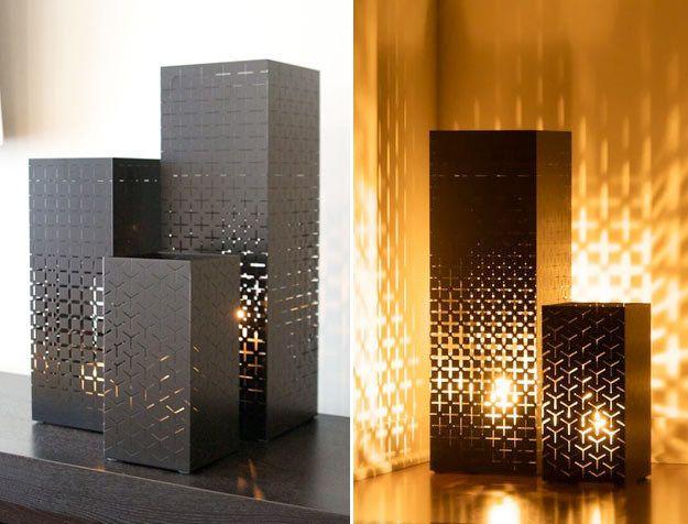 Sleek modern lanterns vases or planters powder coated finish for indoor outdoor use