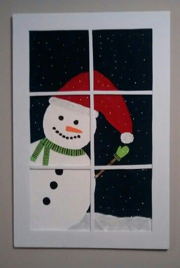 Snowman in the window wall hanging