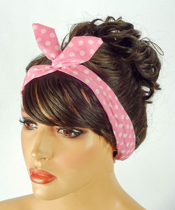 Dolly Bow Wire Headband Bandana Pin Up Hair by JuicyBows