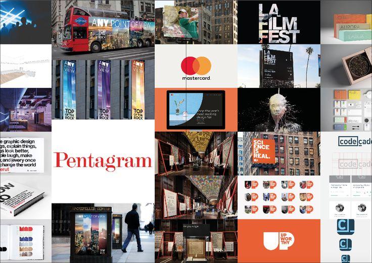 Pentagram houdt zich, net zoals Basedesign, bezig met het uitpuren maar tegelijkertijd houden ze het bedrijfsimago en de eigenschappen van de brand op nummer 1. Het vb. van Top of the Rock: panoramisch dek van het Rockefeller Center, door het gebruik van grote foto's en felle kleuren gecombineerd met simpele fonts, valt deze reclamecampagne onmiddellijk op in het straatbeeld van New York.