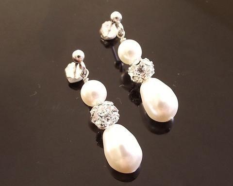 Wedding Earrings - Teardrop Pearl & Crystal Encrusted Earrings, Moritz