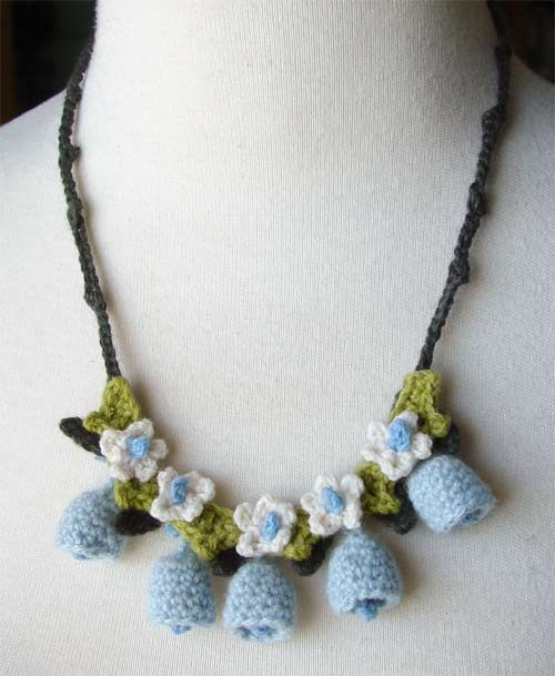Crochet blue bells necklace by ~meekssandygirl on deviantART