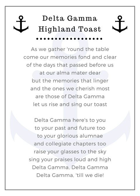 delta gamma highland toast wedding tradition - made this in canva and then printed it out on cardstock!