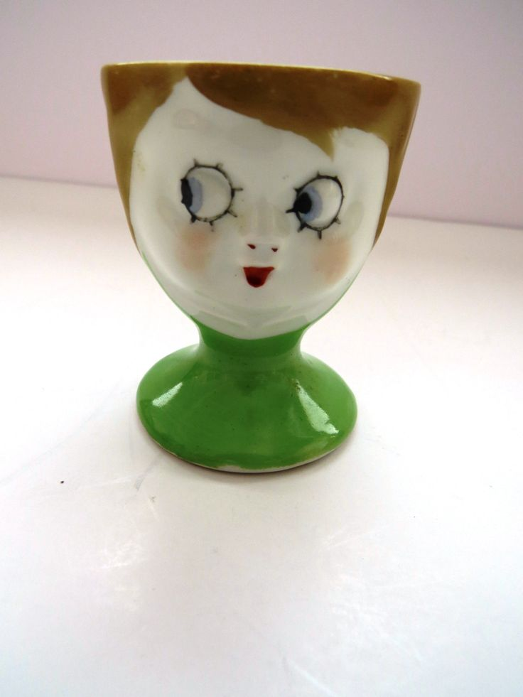 Ceramic Lady Face Egg Cup Made In Japan Vintage Woman
