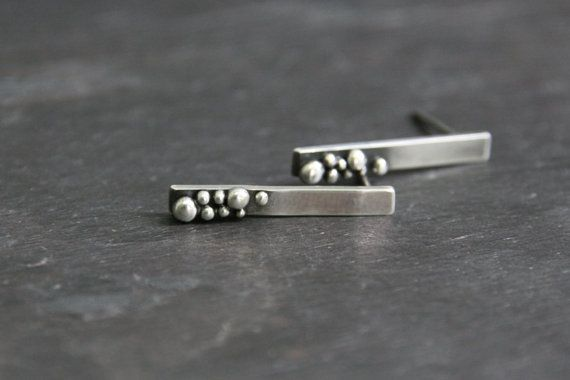 Silver Beach Bubbles Earrings  Sterling Silver by TorchfireStudio