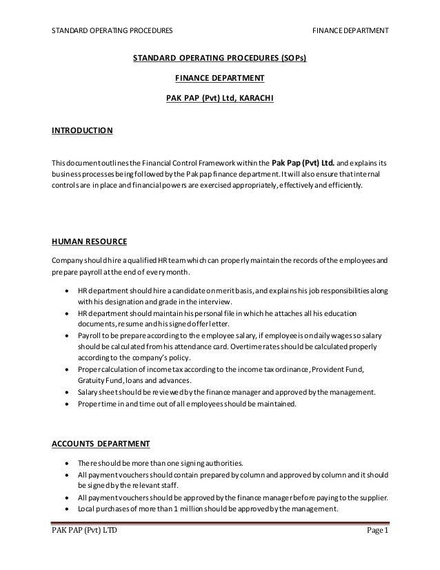 Standard Operating Procedures Financedepartmentpak Pap Pvt Ltd Page 1standard Operating Procedures S Standard Operating Procedure Finance Business Etiquette