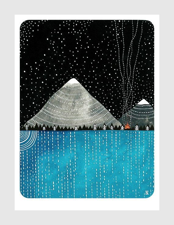 a campfire under the stars // original contemporary watercolour landscape painting // night sky, mountains // by natasha newton