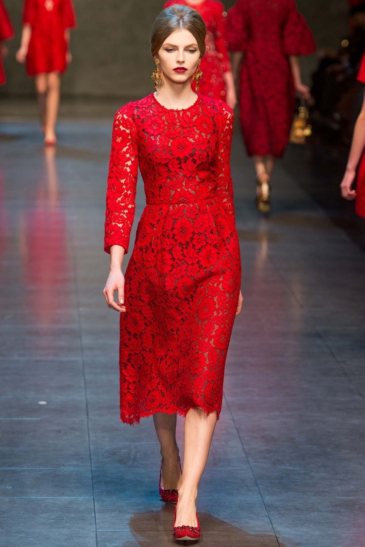 Dolce & Gabbana Ready-to-Wear A/W 2013 - such a beautiful silhouette, red lace stunner