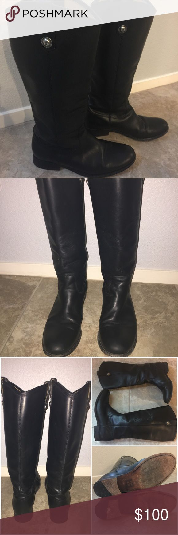 Frye Riding Boots (Black) Gorgeous Melissa riding boots in black. Excellent condition. Super comfy and goes with everything. They are just a tad bit too snug for my liking when I wear thicker socks. I'm still on the hunt for that perfect pair of Frye boots that fit exactly how I want them to fit 😊. Offers welcomed! Non-smoking household. Thanks for looking! Frye Shoes