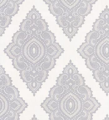 Papel pintado damasco vintage étnico gris de moda - 40904