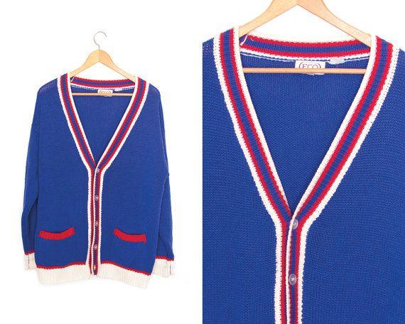Vintage blue red white cardigan sweater. by LiveToLiveVintage