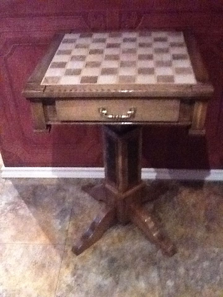 Chess table, ceremic top,pedestral leg, Solid ash.