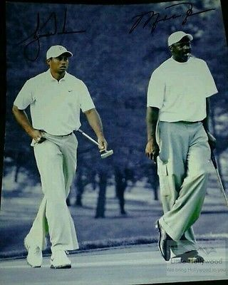 TIGER-WOODS-MICHAEL-JORDAN-golfing-8x10-Autographed-RP-lustre-Photo