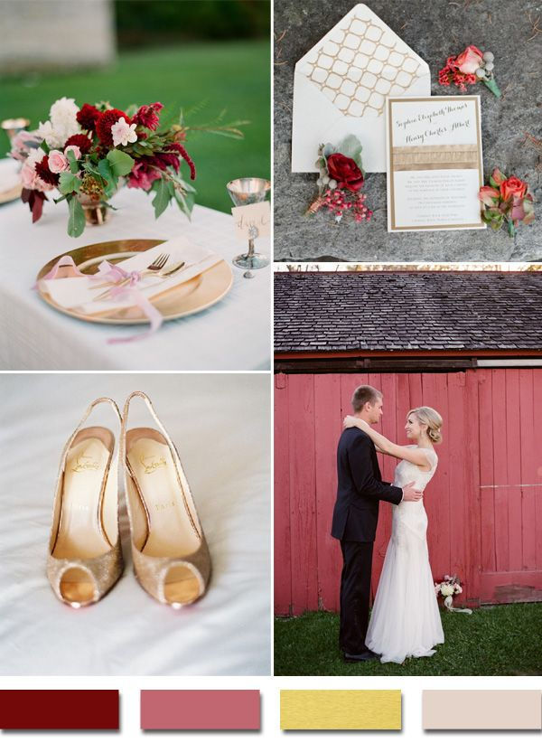 2015 trending burgundy and gold metallic wedding colors for vintage wedding ideas #elegantweddinginvites