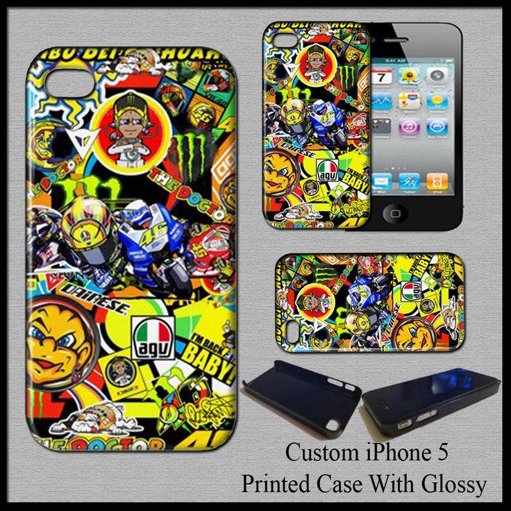 Case For iPhone 5 Valentino Rossi 46 MotoGp Champion Monster Yamaha Stickerbomb