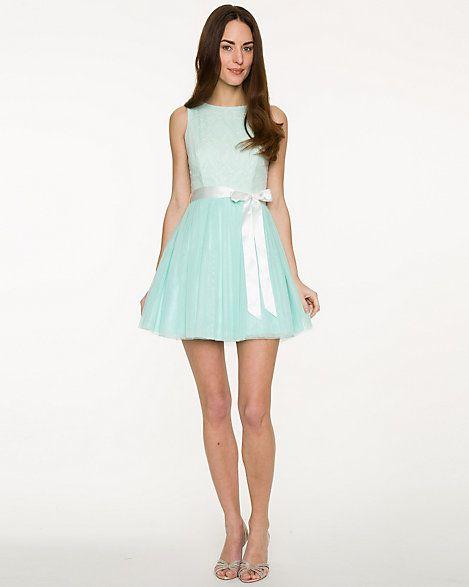Lace Mesh Scoop Neck Party Dress