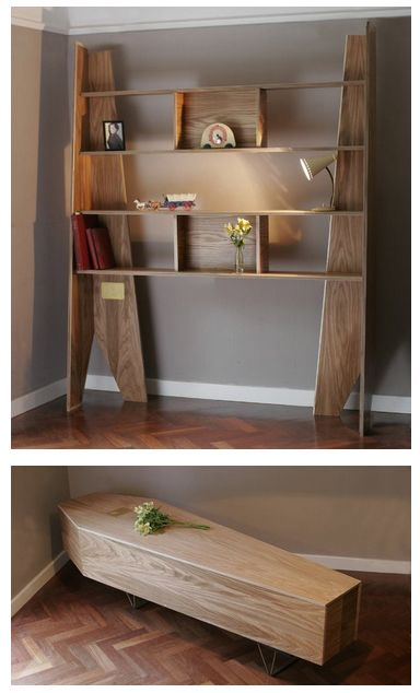 bookcase that can be transformed into a coffin, when you need it.