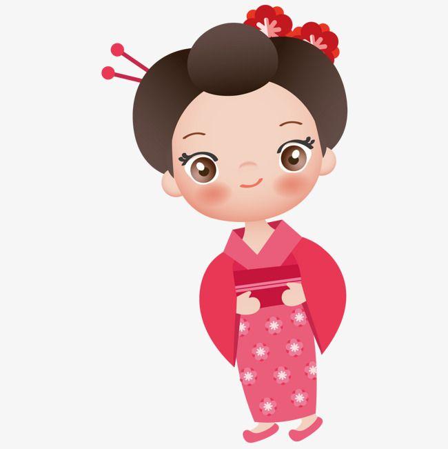 فتاة كيمونو Girl Cartoon Cartoons Vector Character