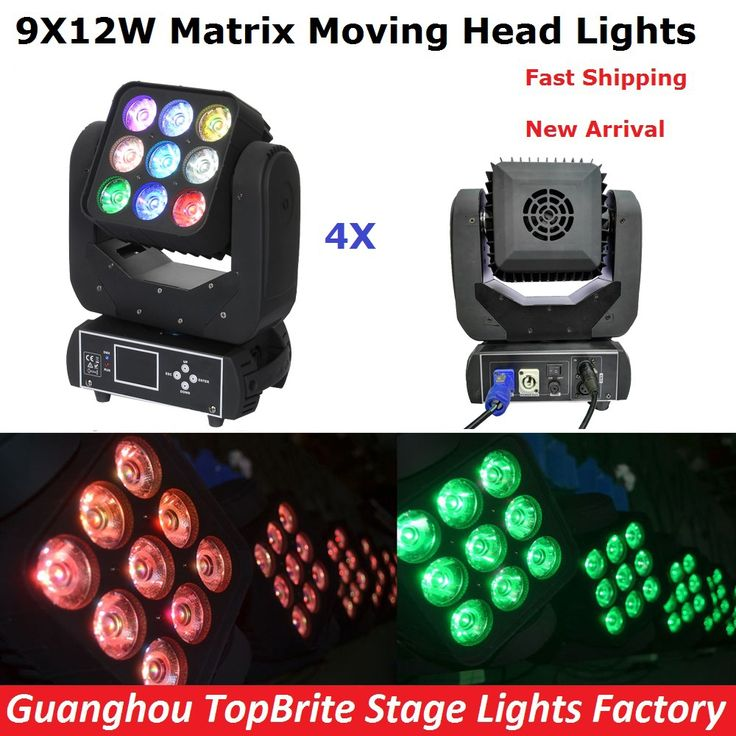 4XLot Led Moving Head Matrix Light Beam Led Disco Light Led DMX512 9X12W Beam Light AC100V-240V CE ROHS Certification Fast Ship #Affiliate