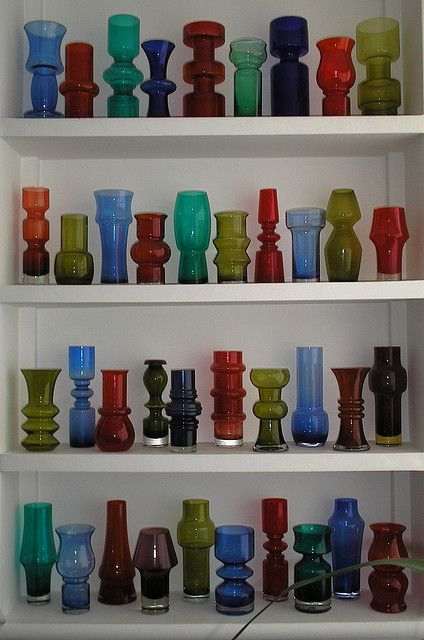 60's glass vase collection.