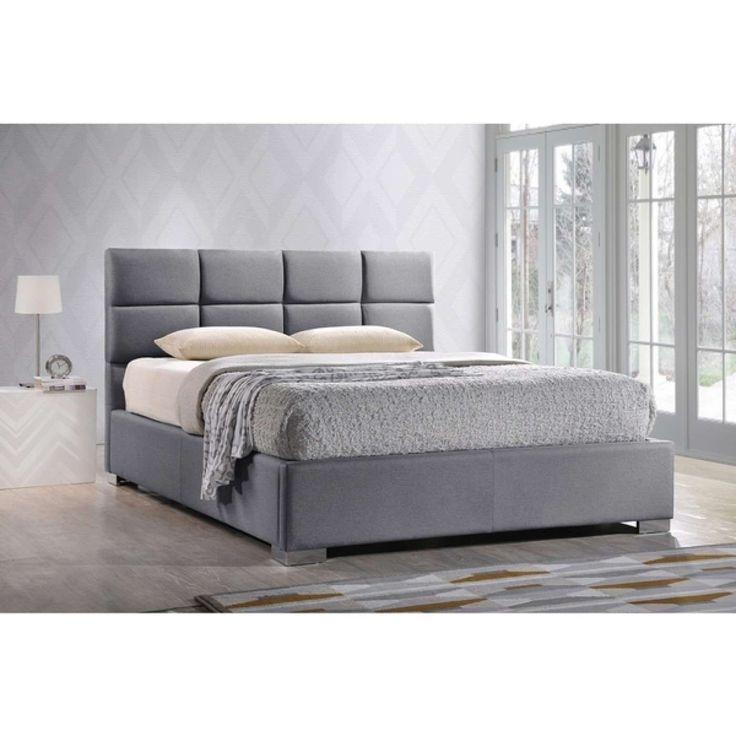 Sophie Gray Upholstered QueenSize Platform Beds Bed