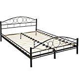 TecTake Lit en métal design cadre de lit  sommier à lattes - diverses modèles - (140x200cm noir | No. 401723)