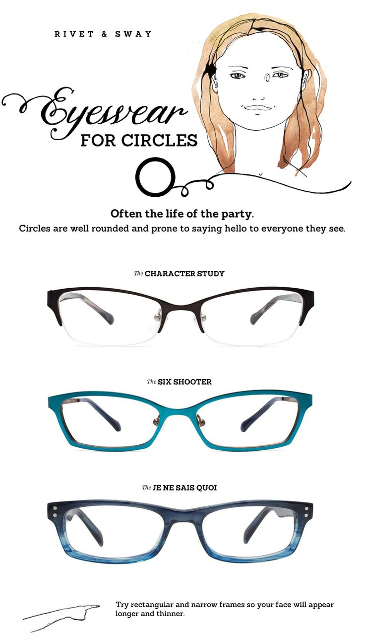 Eyeglasses for face shapes Great eyeglass style tips and photos on the Rivet & Sway's site and Pinterest boards.